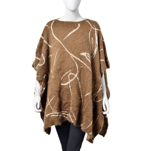 One Time Deal-Chocolate and White Colour Abstract Stripes Pattern Knitted Poncho (Size 142X90 Cm)