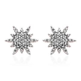Diamond Starbust Stud Earrings (with Push Back) in Rose Gold Overlay Sterling Silver