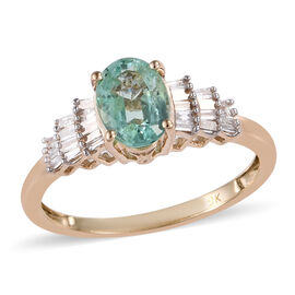 One Time Deal -9K Yellow Gold Boyaca Colombian Emerald (Ovl 7x5 mm), Diamond Ring