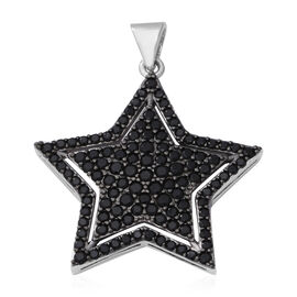 Boi Ploi Black Spinel (Rnd) Star Pendant in Rhodium and Black Overlay Sterling Silver 4.23 Ct.