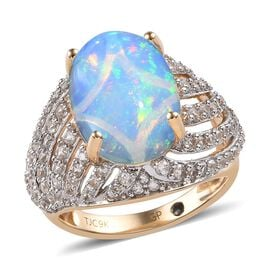 GP 9K Yellow Gold AAA Ethiopian Welo Opal (Ovl 14x10 mm 3.50 Ct), Natural Cambodian Zircon and Blue