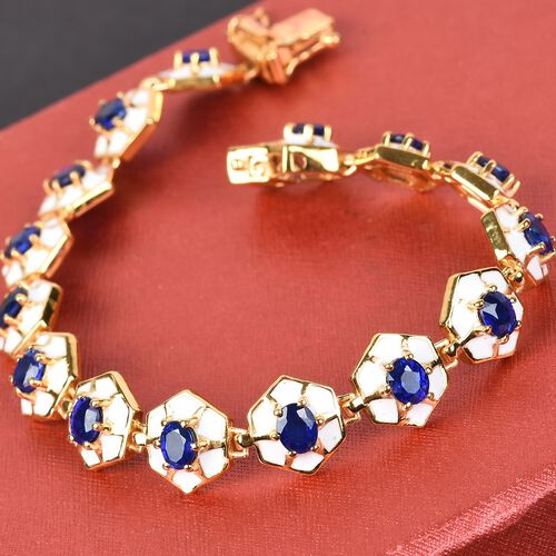 Tanzanian Blue Spinel Enamelled Bracelet (Size 8) in 14K Gold Overlay Sterling Silver 6.00 Ct, Silver wt. 18.00 Gms