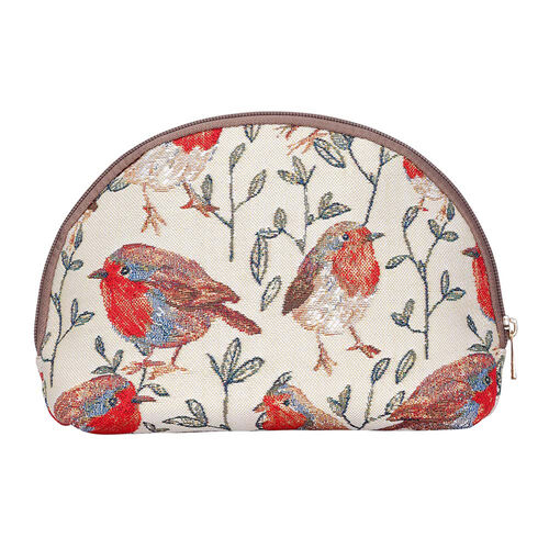 Signare - NEW Big Cosmetic Bag in Robin Design (24.5 x 15.5 x 8.8cms) - Blue and Multicolour