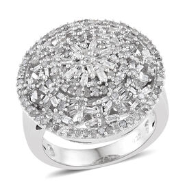 1 Carat Diamond Cluster Ring in Platinum Plated Sterling Silver 7.34 Grams