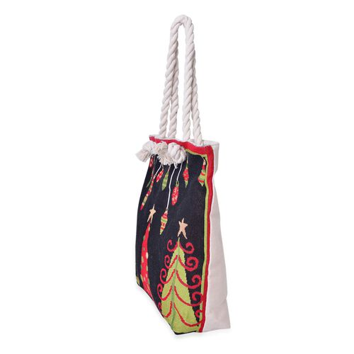 Black, Red and Multi Colour Christmas Tree Pattern Tote Bag (Size 43X37X34X11 Cm)