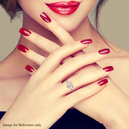 Diamond Cross Heart Ring in Platinum Overlay Sterling Silver