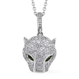 GP Diamond (Rnd), Blue Sapphire and Russian Diopside Panther Head Pendant with Chain (Size 20) in Pl
