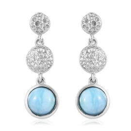 3 Carat Larimar Dangle Earrings in Platinum Plated Sterling Silver