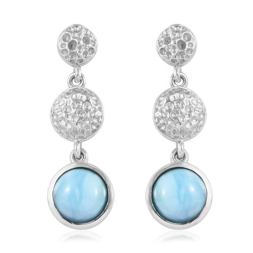 3 Carat Larimar Dangle Earrings in Platinum Plated Sterling Silver