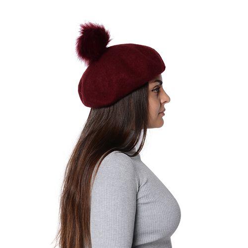 Solid Colour Winter Faux Fur Pompom Hat (Size 60 Cm) - Wine