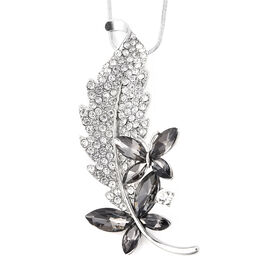 Simulated Grey Spinel (Mrq), White Austrian Crystal Leaf Pendant with Chain in Silver Tone