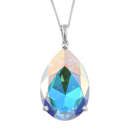 J Francis - Crystal From Swarovski AB Crystal (Pear 30x20 mm) Pendant With Chain (Size 30) in Platinum Overlay Sterling Silver, Silver wt 9.00 Gms.
