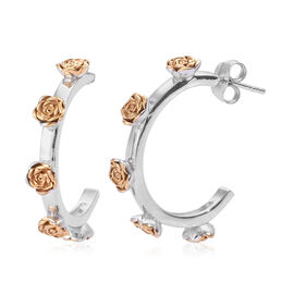 Yellow Gold and Platinum Overlay Sterling Silver J-Hoop Earrings (with Push Back), Silver wt 7.12 Gm