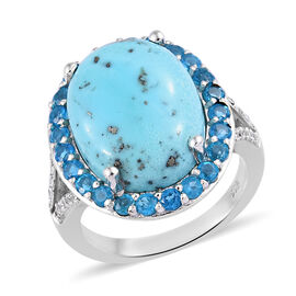 Persian Turquoise and Malgache Neon Apatite Ring in Platinum Plated Sterling Silver,10.25 Ct