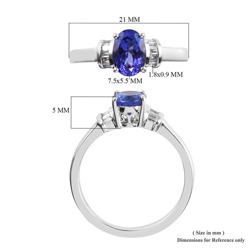 RHAPSODY 950 Platinum AAAA Tanzanite (Ovl), Diamond (VS/E-F) Ring 1.15 Ct.