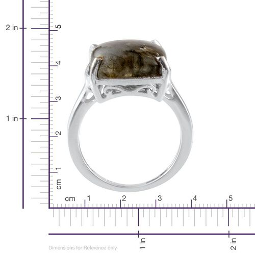 Labradorite (Cush) Solitaire Ring in Platinum Overlay Sterling Silver 9.000 Ct.
