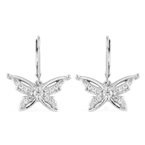 J Francis - Platinum Overlay Sterling Silver (Rnd) Butterfly Lever Back Earrings Made with SWAROVSKI ZIRCONIA
