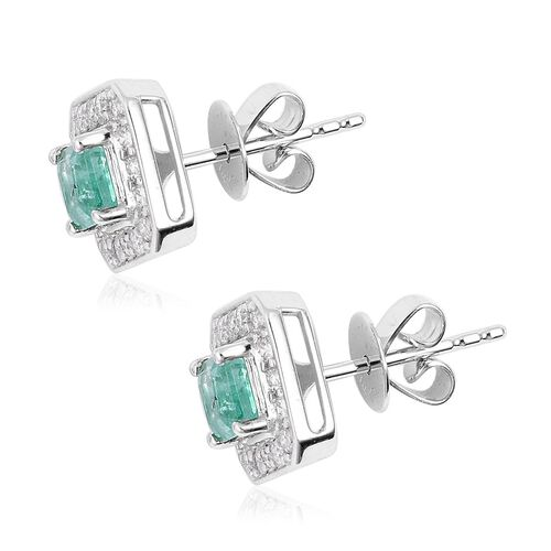 14K White Gold AA Boyaca Colombian Emerald (Oct), Diamond (I3/G-H) Stud Earrings (with Push Back) 1.010  Ct.