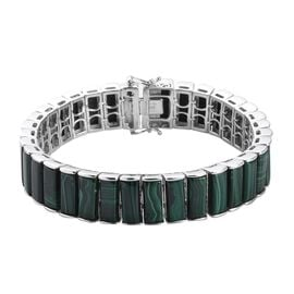 GP Malachite, Blue Sapphire Bracelet (Size 7.5) in Platinum Overlay Sterling Silver 70.02 Ct, Silver