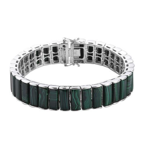 GP Malachite, Blue Sapphire Bracelet (Size 7.5) in Platinum Overlay Sterling Silver 70.02 Ct, Silver