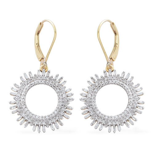 1 Carat Diamond Circle of Life Earrings in Gold Plated Sterling Silver 5.19 Grams