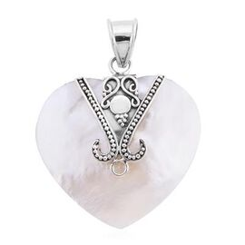 Royal Bali Collection - Mother of Pearl Heart Pendant in Sterling Silver, Silver wt. 3.50 Gms