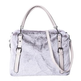 Faux Fur Tote Bag with Detachable Straps and Zipper Closure (Size 40x31x13 Cm) - Grey