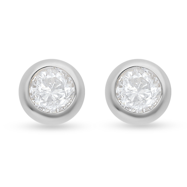 9K W Gold SGL Certified Natural Diamond (I3/G-H ) Stud Earrings (with Push Back) 0.22 Ct.