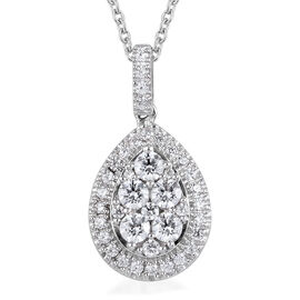 J FRANCIS Sterling Silver Pendant with Chain (Size 18) Made with SWAROVSKI ZIRCONIA 2.83 Ct, Silver
