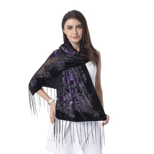 Black, Purple and Silver Colour Tulip Flower Pattern Scarf (Size 160x52 Cm)