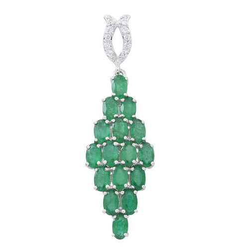 9K White Gold AAA Kagem Zambian Emerald (Ovl), Natural White Cambodian Zircon Pendant 4.250 Ct.
