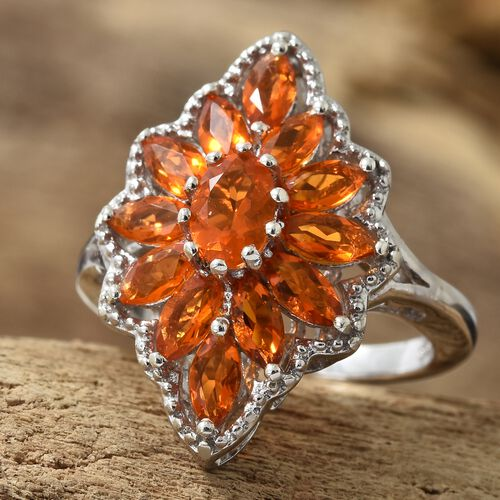Jalisco Fire Opal (Ovl) Cluster Ring in Platinum Overlay Sterling Silver 1.500 Ct.