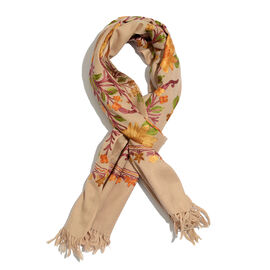 Limited Available - 100% Merino Wool Multi Colour Floral and Leaves Embroidered Beige Colour Scarf w