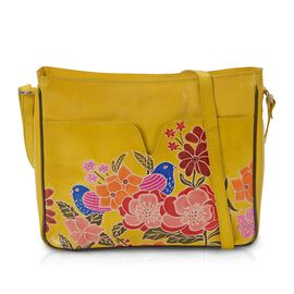 100% Genuine Leather Hand Painted Crossbody Sling Bag (30 L x 6 W x 24 H cm) - Birds and Flowers