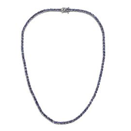 Tanzanite (Ovl) Tennis Necklace (Size 18) in Platinum Overlay Sterling Silver 16.75 Ct, Silver wt 22