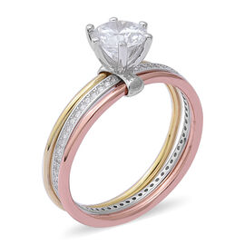 ELANZA Simulated Diamond (Rnd) Ring (Size R) in Platinum, Rose and Yellow Gold Overlay Sterling Silver