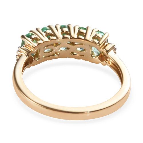 NY Close Out Deal - 14K Yellow Gold Boyaca Colombian Emerald (Ovl), Diamond Ring 1.150 Ct.