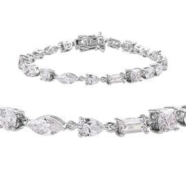 J Francis - Platinum Overlay Sterling Silver Tennis Bracelet (Size 7) Made with SWAROVSKI ZIRCONIA,