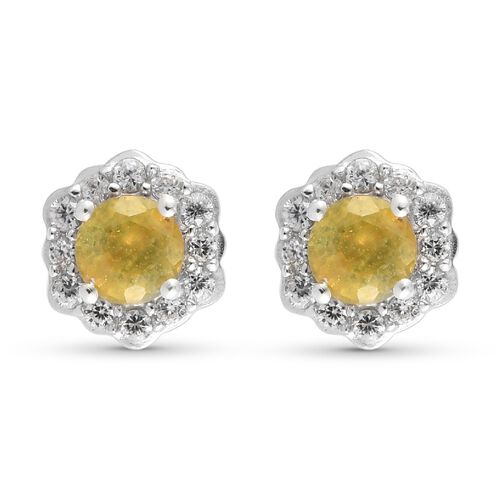 Yellow Sapphire and Natural Cambodian Zircon Floral Stud Earring (with Push Back) in Platinum Overla