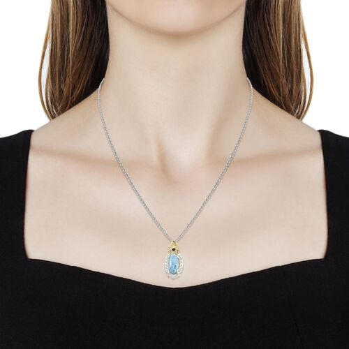 Larimar (Ovl), Kanchanaburi Blue Sapphire Pendant with Chain in Platinum Overlay Sterling Silver 9.750 Ct.