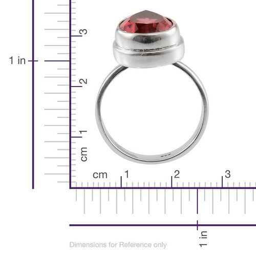 Padparadscha Colour Quartz (Pear) Solitaire Ring in Sterling Silver 6.420 Ct.