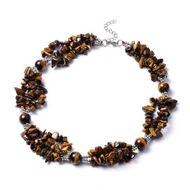 Tiger Eye Necklace (Size 18 with 2 inch Extender) in Silver Tone