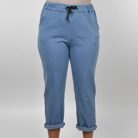 Nova of London 100% Cotton Drawstring Trousers in Light Denim (Size up to 18)