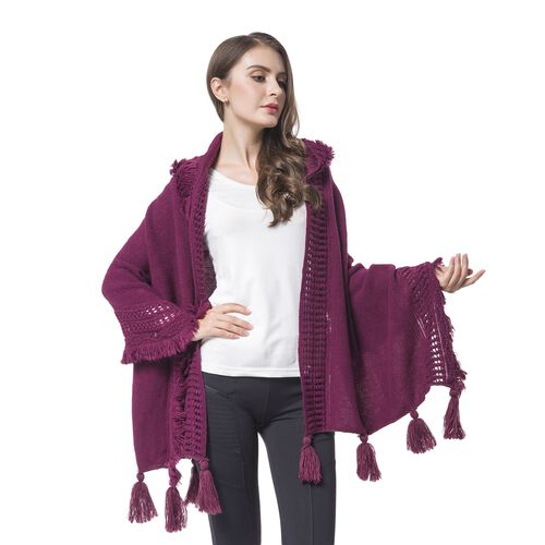Purple Colour Knitted Hoodie Kimono with Tassels (Size 190X60 Cm)