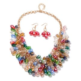Set of 2- Multi Colour Murano Style Glass Beads Necklace (Size 20) and Earrings in Stainless Steel