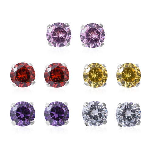 Set of 5 - ELANZA Simulated Citrine (Rnd), Simulated Ruby, Simulated Pink Sapphire, Simulated Amethyst and Simulated White Diamond Stud Earrings (with Push Back) in Rhodium Plated Sterling Silver
