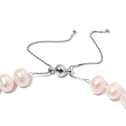One Time Deal- High Shine Freshwater White Pearl Adjustable Necklace (Size 18 to 24) in Rhodium Overlay Sterling Silver