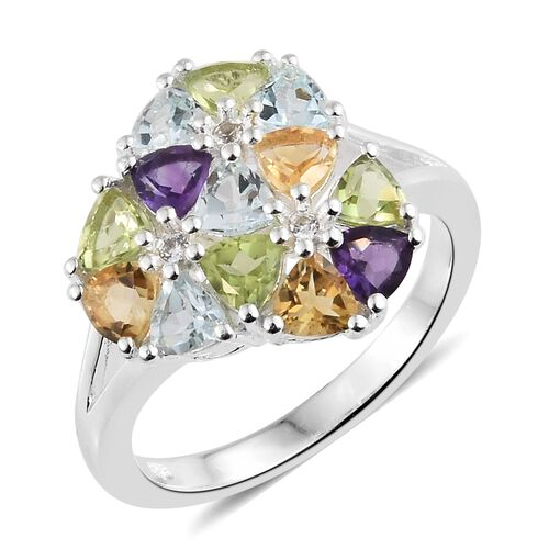 Hebei Peridot (Trl), Sky Blue Topaz and Multi Gemstone Ring in Sterling Silver 3.250 Ct.