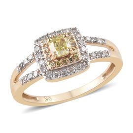 0.50 Ct Diamond and Natural Yellow Diamond Cluster Ring in 9K Yellow Gold 2.43 Grams
