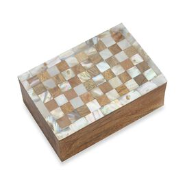 Artisan Crafted Handmade Inlay Mother of Pearl and Mango Wood Checker Pattern Storage Box (Size 15x1